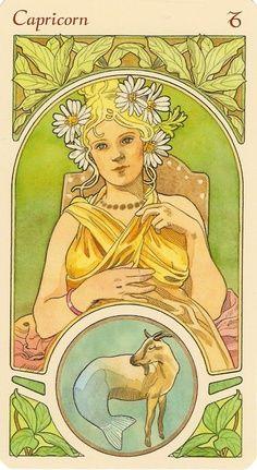 Capricorn - Art Nouveau Zodiac by Antonella Castelli Art Nouveau Mucha, Alphonse Mucha Art, Inspiration Art, Art Inspo, Art And Illustration, Zodiac Art, Zodiac Signs, Aries Zodiac, Capricorn Art