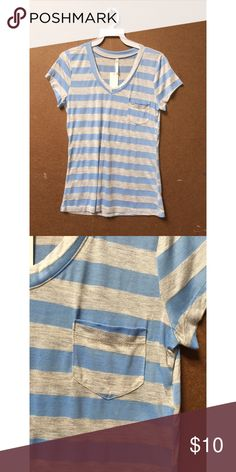 BRAND NEW STRIPED T-SHIRT (qty: 6) Super cute and casual t-shirt with small breast pocket. Baby blue and heather grey. Brand new with tags - just taken out of the packaging. There are multiple of this style and color! Let me know if you have any questions Tops Tees - Short Sleeve