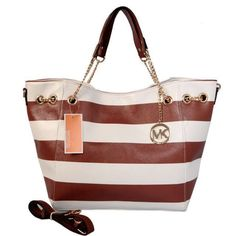 Michael Kors Outlet Striped Large Brown Totes