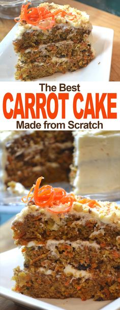 How to Make the Best Carrot Cake! As far as carrot cake goes this one is the best, it has the perfect blend of spices, it's not overly sweet, and it has amazing texture. Best Vanilla Cake Recipe, Apple Cake Recipes, Homemade Carrot Cake, Best Carrot Cake, Brownies, Best Birthday Cake Recipe, Cream Cheese Buttercream Frosting, Candied Carrots, Cake Recipes From Scratch