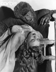 """""""B"""" movie scream queen Evelyn Ankers with Chaney Jr. in a publicity shot for The Wolf Man Bizarre Los Angeles Classic Monster Movies, Classic Horror Movies, Classic Monsters, Evelyn Ankers, Hollywood Monsters, Lon Chaney Jr, The Frankenstein, Horror Monsters, Scary Monsters"""