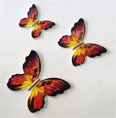 3lü Kırmızı Seramik Kelebek Duvar Süsü