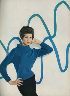 Fashion Harper's Bazaar, August 1957 vintage fashion print ad style sweater blue model magazine color photo print ad - Isabella is wearing a deep blue cashmere sweater by Braemar. Vintage Love, Vintage Beauty, Retro Vintage, Vintage Style, 1950s Style, Fashion Images, Fashion Models, Fashion Mark, 1950s Fashion