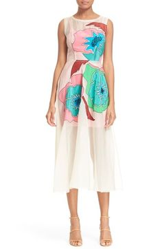 Tracy Reese Floral Appliqué Silk Fit & Flare Dress available at #Nordstrom