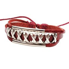 Real Spark Womens Teens Unisex Leather Woven Braided Double Tube Strands Adjustable Wrap Bracelet  #Adjustable #Bracelet #Braided #Double #leather #Real #RusticWallClock #Spark #Strands #Teens #Tube #Unisex #Women's #Woven #Wrap The Rustic Clock