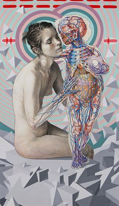 """MICHAEL REEDY - """" The kiss """" Mixed media on paper 47 x 28 http://www.michaelreedy.gallery"""
