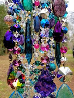 Your place to buy and sell all things handmade Crystal Wind Chimes, Diy Wind Chimes, Beaded Chandelier, Chandeliers, Wine Bottle Trees, Garden Whimsy, Hanging Crystals, Garden Ornaments, Garden Crafts