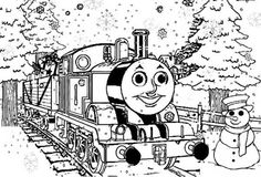 Thomas The Train Saying Merry Christmas To You Coloring Pages ...