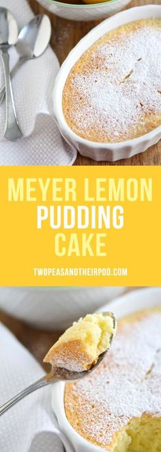 Meyer Lemon Pudding Cake is a magical cake! It is soft lemon cake with a creamy lemon filling. Top with powdered sugar and berries before serving for an beautiful dessert! #lemon #cake #dessert #dessertrecipes