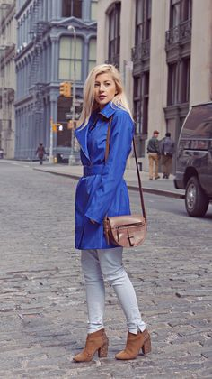 14cd004616df30 Cobalt Blue Trench Evelina Barry