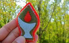 Felt UU Flaming Chalice Ornament \/ Charm