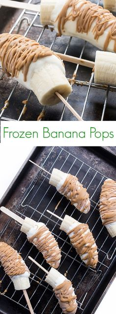 A healthy and easy dessert recipe made with three simple ingredients, these frozen banana pops are coated in Greek yogurt and drizzled with peanut butter. #breakfast #snacks #banana #healthy #kidfriendly #healthydessert
