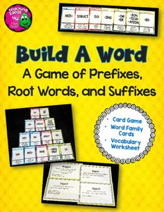 Build A Word Card Game: Prefixes, Root Words, & Suffixes. Are you looking for a game to help support learning Greek and Latin affixes and roots?  Build A Word is an original, rummy style card game that reinforces 8 prefixes, 8 roots, and 8 suffixes. ($)