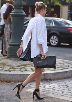 White shirts black heels, purse, skirt. Street spring summer women fashion outfit clothing style apparel @roressclothes closet ideas