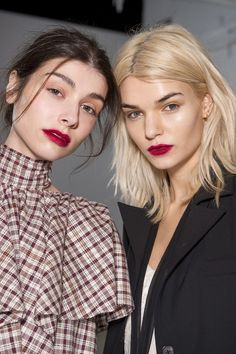 "Rosie Assoulin Makeup artist James Kaliardos went for a ""matte, loud, persistent mouth"" in a rich shade of M.A.C. Retro Matte Liquid Lipcolour that he then blurred the edges of with a cotton bud."