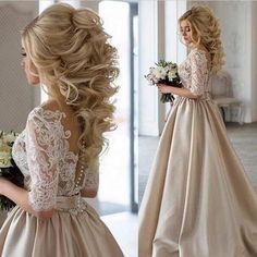 Gorgeous half sleeves a-line long light champagne prom dress