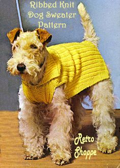 3 Sz Rib Knit Dog Sweater Pattern Airedale Terrier