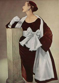 Hubert de Givenchy Burgundy Spice Velour Velvet & Silvery Satin Cocktail Dress & Coat, 1952
