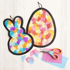 The little ones will enjoy making these Kids Club® Tissue Paper Stained Glass Easter Icons Holiday & Seasonal Crafts Easter Arts And Crafts, Bunny Crafts, Easter Projects, Spring Crafts, Holiday Crafts, Craft Projects, Craft Ideas, Spring Toddler Crafts, Egg Crafts