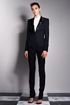 Viktor & Rolf Resort 2013 Collection -   Old time classic that you can't go wrong with for any occasion - Black tux suit with pin pants and open toe shoes - sexy and elegant