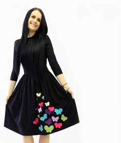 dresses by BusyGirl / City love .motýľe via Sashe Unique Fashion, High Neck Dress, Love, Floral, Skirts, Handmade, Dresses, Design, Style