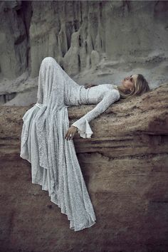 """Rebecca Szulc by Harper Smith for Odylyne the Ceremony """"The Empress"""" Collection. rocks sand stone white falling dress"""