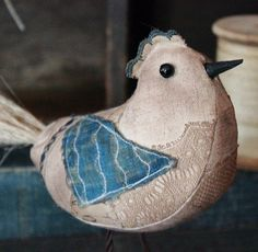 Primitive Folk Art Scrappy Standing Bird by rockriverstitches, $20.00