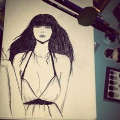 This is my first sketch from front side #skecth #drawing #girl