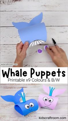 This Whale Puppet Craft is so fun and is easy to make with the printable whale craft template. This is a super Summer craft and to go with ocean study units and your favourite whale story books. The whale template comes in 9 fun colours and a B/W version that children can colour in too. #kidscraftroom #kidscrafts #whales #whalecrafts #summercrafts #oceancrafts #printablecrafts Hand Crafts For Kids, Creative Arts And Crafts, Summer Crafts For Kids, Craft Activities For Kids, Preschool Crafts, Art For Kids, Crafts For Toddlers, Foam Crafts, Kids Diy