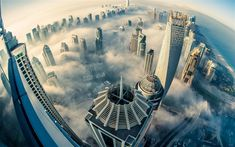 Download wallpapers Dubai, morning, fog, clouds, skyscrapers, top view, city in the clouds, United Arab Emirates