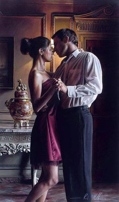 "painting by Rob Hefferan; romantic art...Reminds me of their first dance together to the music of ""witchcraft."""