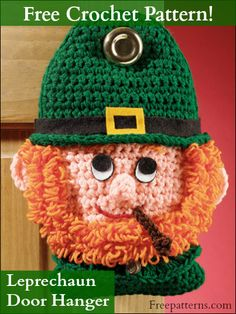 Leprechaun Door Hanger Crochet Pattern -- Download this free crochet home decor pattern from FreePatterns.com.