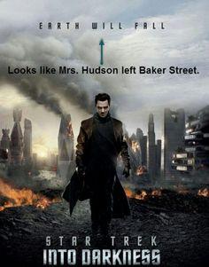 """Sherlock/Star Trek humor, """"Mrs. Hudson leave Baker Street? England would fall."""""""