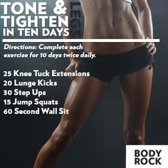 Got 10 days to make a difference? This Tighten & Tone in Ten Days workout will challenge you to tone up your legs and keep them firm during the upcoming winter season to stay bikini body ready all year long! I decided to give this plan a try for myself.