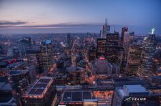 April 10, 2015: Dusk Cityscape, image submitted to the #UrbanToronto flickr pool by Oscar Flores #Toronto #city #urban #aerial #dusk #buildings #architecture #downtown