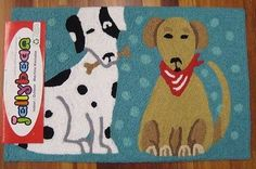 NEW JELLYBEAN INDOOR OUTDOOR RUG MACHINE WASHABLE  35% RECYCLED POLKA DOT DOGS