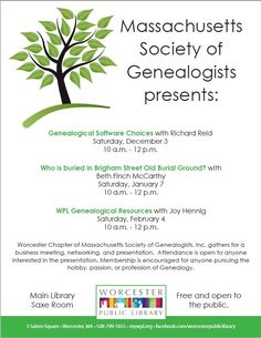 Join the Massachusetts Society of Genealogists for programs during December-February
