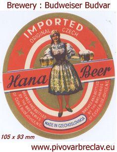 PEMD 1 ks stará etiketa HANA BEER BUDVAR (6395905133) - Aukro - největší obchodní portál