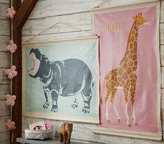 Hippo and Giraffe Explorer Canvas Art