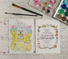 Watercolor Wedding Invitation by GreySnailPress on Etsy
