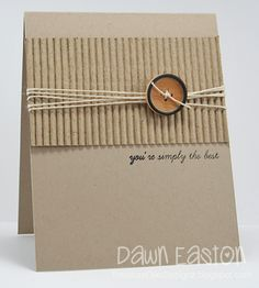 handmade kard ... all kraft .... luv the contrasting textures of smooth paper, corrigated paper and rough twine ... clean, simple, understated, elegant ...