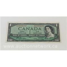 Auction Sunday Sept 27, 2015 - Bank of Canada 1954 *A/A Replacement Note (F)