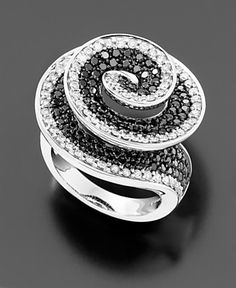 $2645.10 14k White Gold Black & White Diamond Ring (2 ct. t.w.) - Right Hand Rings Diamond - Jewelry & Watches - Macy's