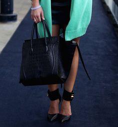 shoes. bag. green.