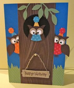 happy birthday card - SU owl punch - see the inside of this card - bjl