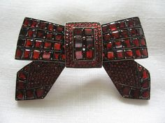 Circa 1910 Bohemian Garnet Bow Brooch.