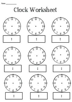 Digital Clock Worksheets Along with Free Printable Blank Clock Faces Worksheets Clock Worksheets, Free Kindergarten Worksheets, Worksheets For Kids, Printable Worksheets, Teaching Resources, Abc Kindergarten, Kindergarten Addition, Addition Worksheets, Free Printables
