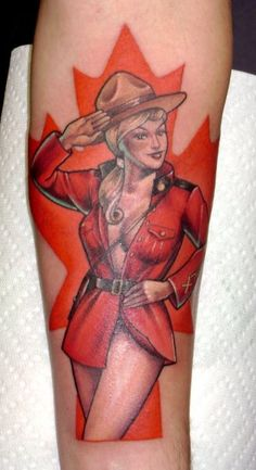 Canadian Pin Up Girl Tattoo - Hannah Aitchison=so rad Pin Up Girl Tattoo, Pin Up Tattoos, Love Tattoos, Tattoo You, Body Art Tattoos, Small Tattoos, Girl Tattoos, Tattoos For Women, Awesome Tattoos