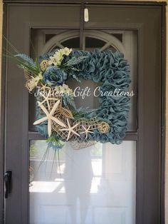 Made to Order Beach Burlap Wreath/Front Door Wreath/Everyday/Starfish/Nautical Wreath/Monogram/Welcome/Summer Door Hanger/Seasonal Wreath - Modern Teal Front Doors, Front Door Decor, Wreaths For Front Door, Door Wreaths, Grapevine Wreath, Burlap Wreaths, Beach Wreaths, Flower Wreaths, Nautical Wreath