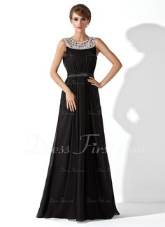 A-Line/Princess Scoop Neck Floor-Length Chiffon Tulle Charmeuse Evening Dress With Ruffle Beading (017020923) - DressFirst